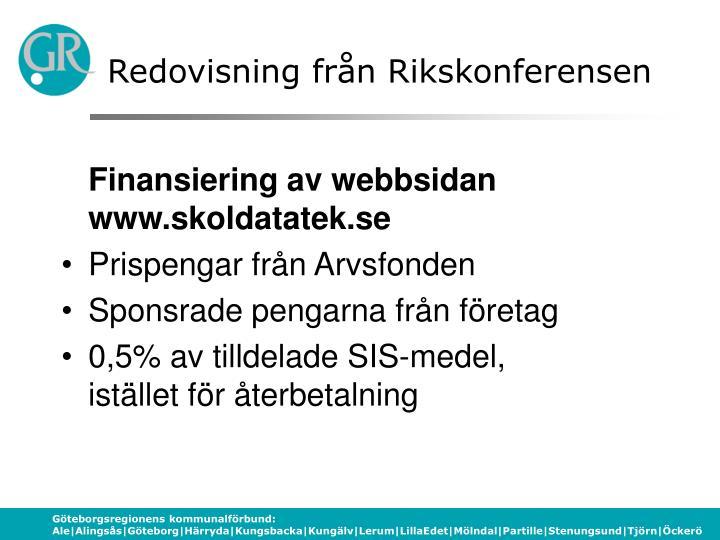 Redovisning från Rikskonferensen