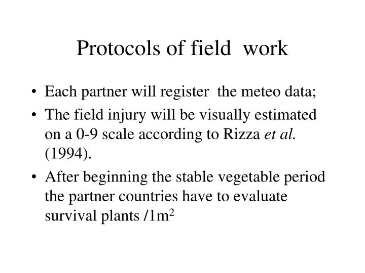 Protocols of field  work