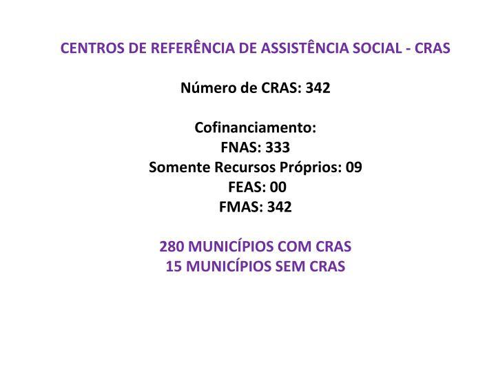 CENTROS DE REFERÊNCIA DE ASSISTÊNCIA SOCIAL - CRAS