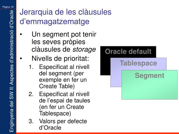 Jerarquia de les clàusules d'emmagatzematge
