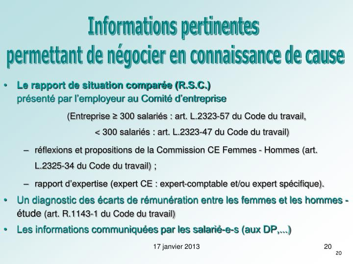 Informations pertinentes