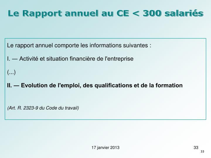 Le Rapport annuel au CE < 300 salariés