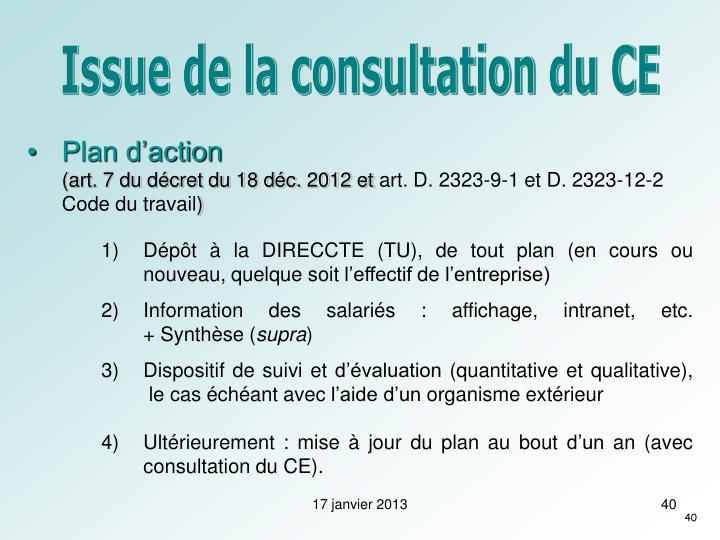 Issue de la consultation du CE