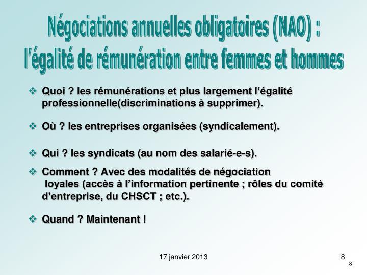 Négociations annuelles obligatoires (NAO) :
