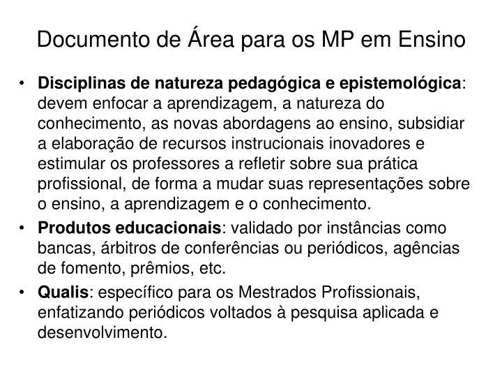 Documento de Área para os MP em Ensino