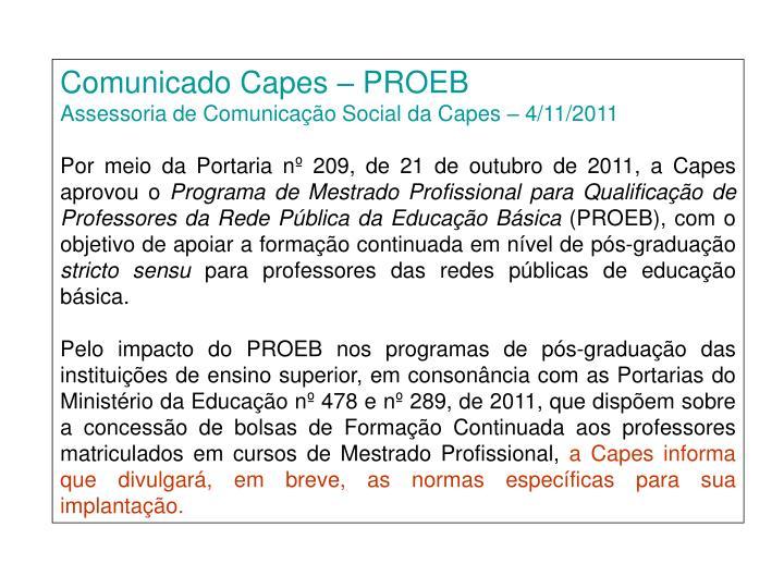 Comunicado Capes – PROEB