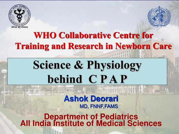 who collaborative centre for training and research in newborn care n.