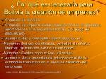 por qu es necesaria para bolivia la creaci n de empresas