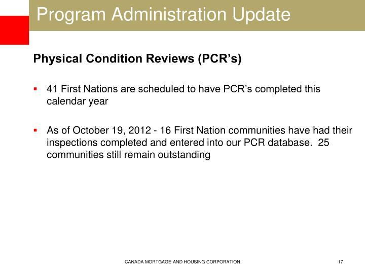 Program Administration Update