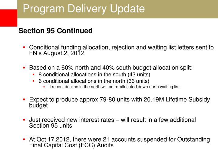 Program Delivery Update