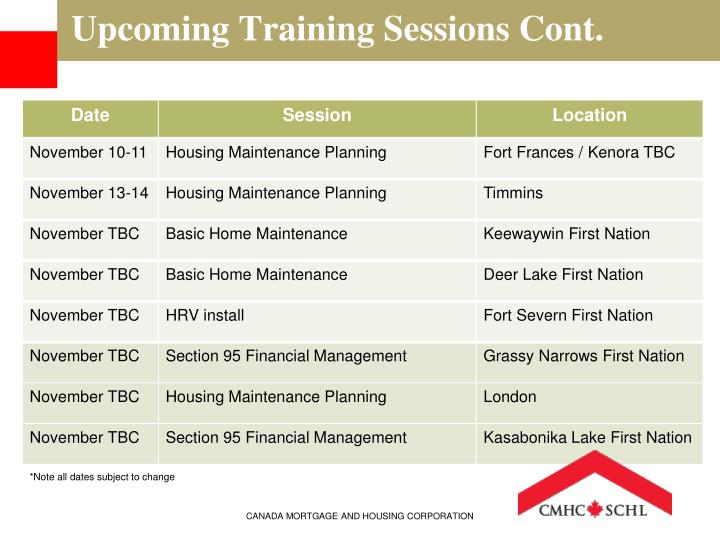 Upcoming Training Sessions Cont.