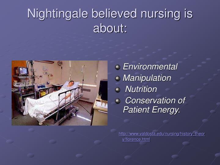 Nightingale believed nursing is about: