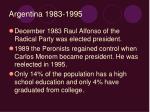 argentina 1983 1995