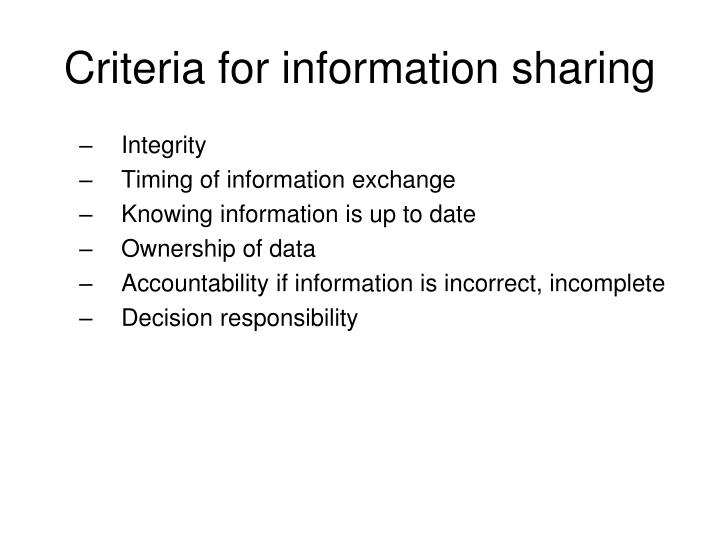 Criteria for information sharing