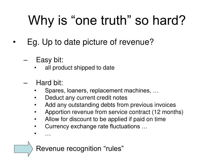 "Why is ""one truth"" so hard?"