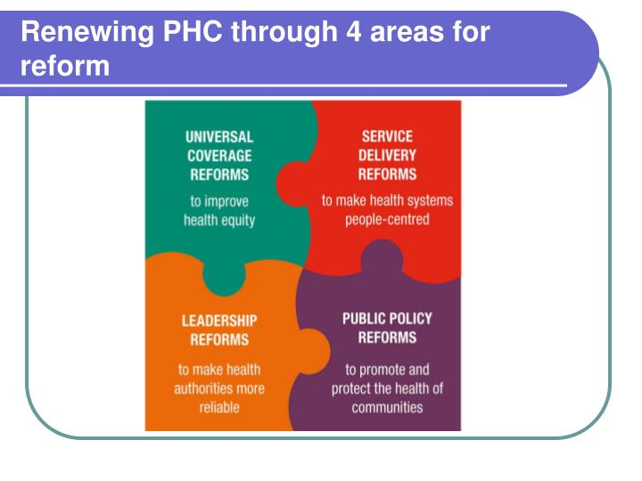 Renewing PHC through 4 areas for reform
