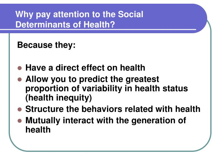 Why pay attention to the Social Determinants of Health?