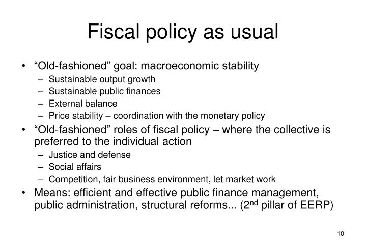 Fiscal policy as usual