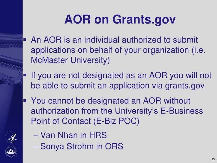 AOR on Grants.gov