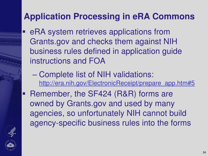 Application Processing in eRA Commons