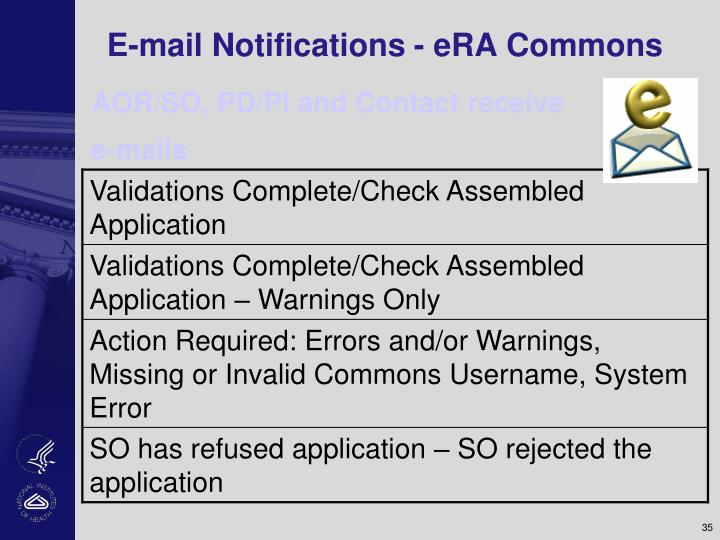E-mail Notifications - eRA Commons