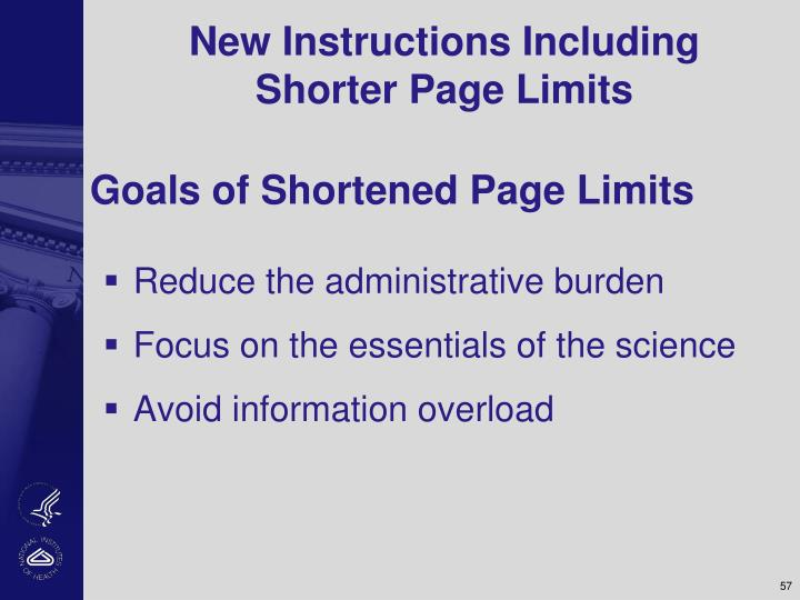 New Instructions Including Shorter Page Limits