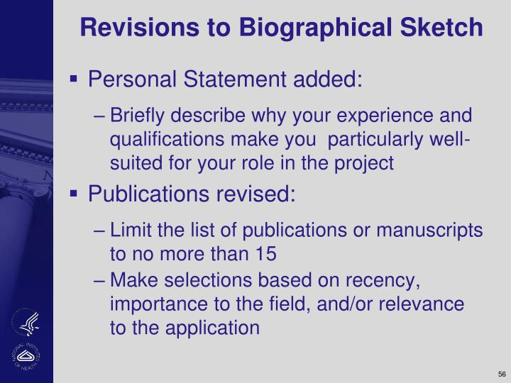 Revisions to Biographical Sketch