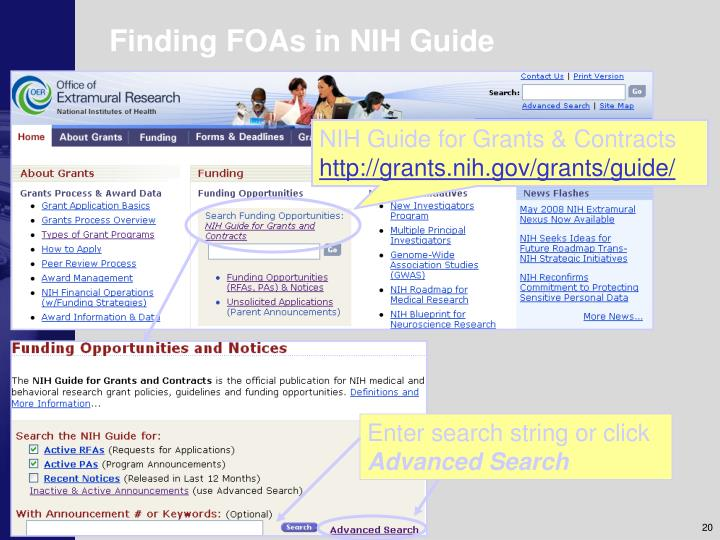 Finding FOAs in NIH Guide