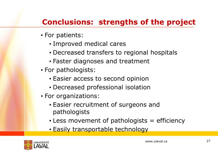 Conclusions:  strengths of the project