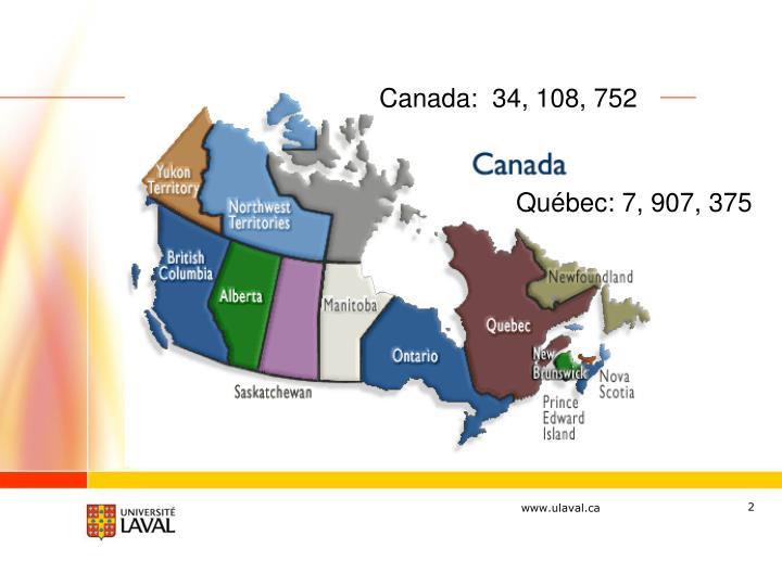Canada:  34, 108, 752