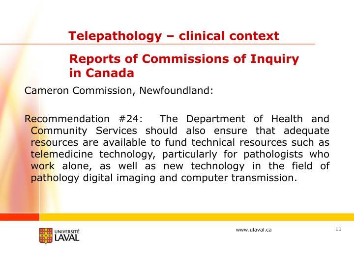 Telepathology – clinical context