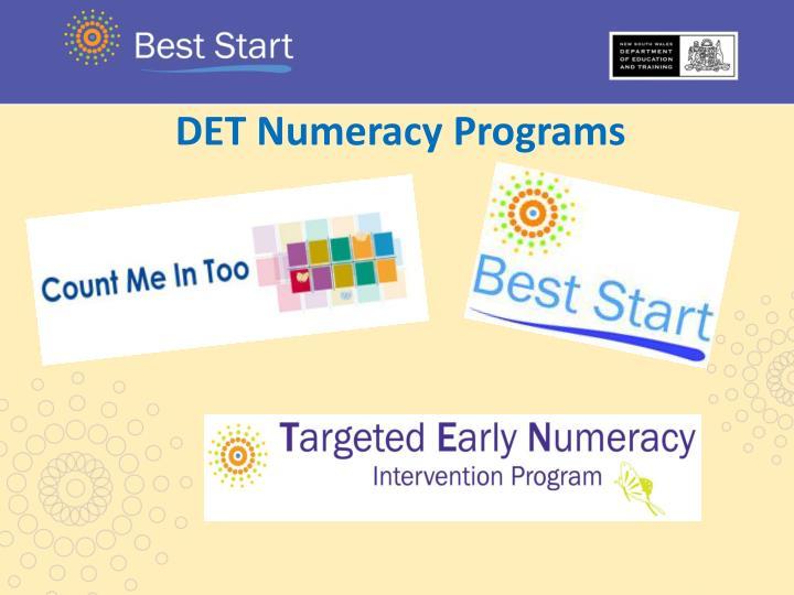 DET Numeracy Programs