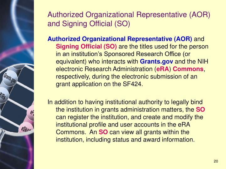 Authorized Organizational Representative (AOR) and Signing Official (SO)