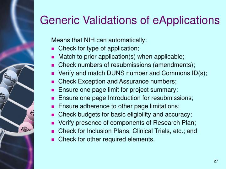 Generic Validations of eApplications