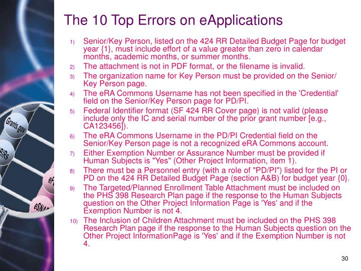 The 10 Top Errors on eApplications