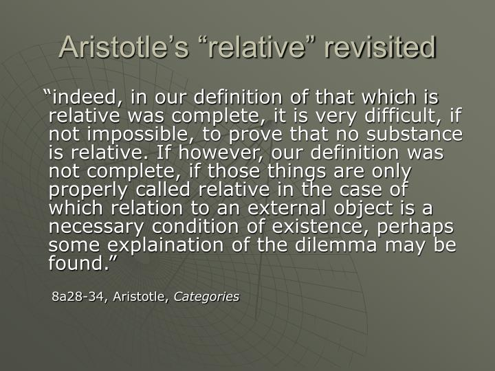 "Aristotle's ""relative"" revisited"