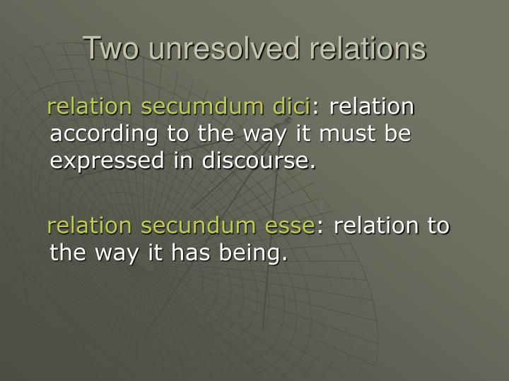 Two unresolved relations