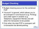 budget checking