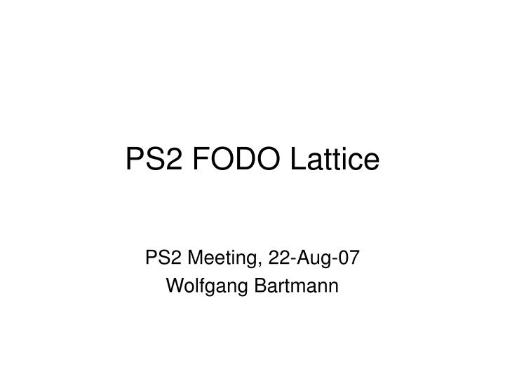 ps2 fodo lattice n.