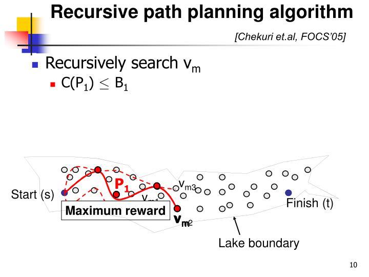Recursive path planning algorithm