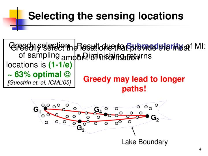 Selecting the sensing locations