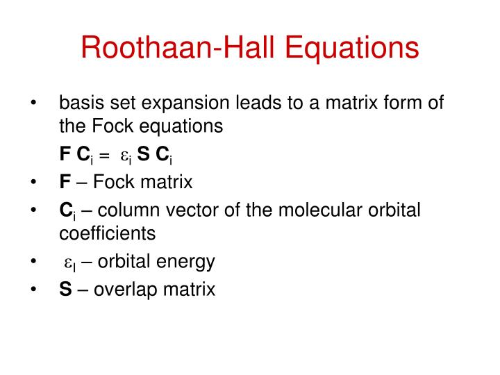Roothaan-Hall Equations