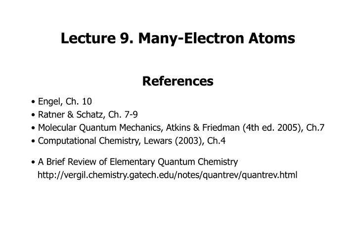 lecture 9 many electron atoms n.