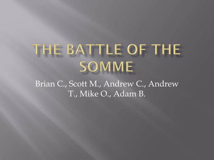the battle of the somme n.