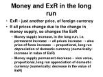 money and exr in the long run