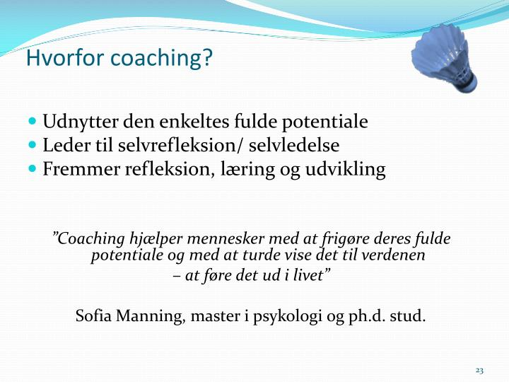 Hvorfor coaching?