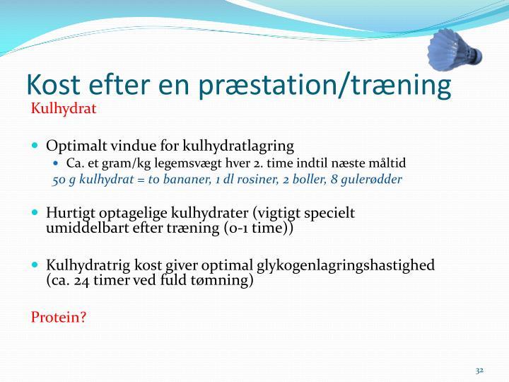 Kost efter en præstation/træning