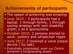 achievements of participants
