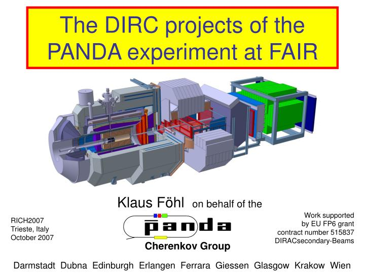 the dirc projects of the panda experiment at fair n.