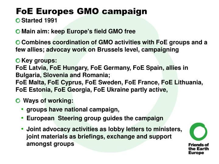 FoE Europes GMO campaign
